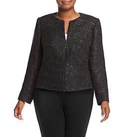 Calvin Klein Plus Size Zip Front Sparkle Jacket