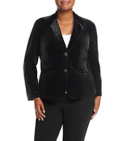 Calvin Klein Plus Size Two Button Velvet Jacket
