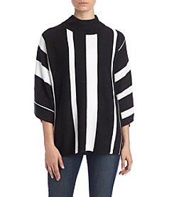 Relativity® Cowl Neck Vertical Stripe Sweater