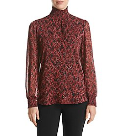 Relativity® Smocked Printed Mock Neck Blouse