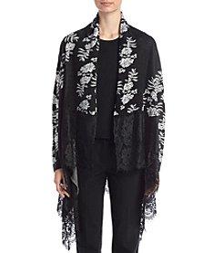 Relativity® Lace Trim Floral Jacquard Cardigan