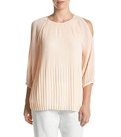 Relativity® Three-Quarter Sleeve Cold Shoulder Pleated Blouse