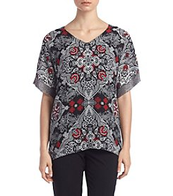 Relativity® Printed Blouse With Mesh