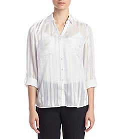 Relativity® Shadow Stripe Utility Blouse