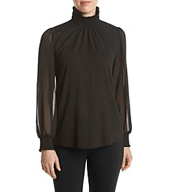 Relativity® Smocked Mock Neck Blouse