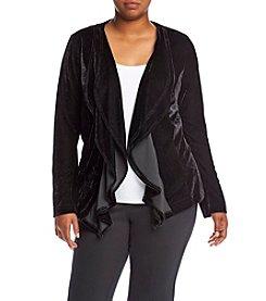 Relativity® Plus Size Velvet Cascade Front Jacket