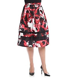 Relativity® Plus Size Floral Print Skirt With Organza
