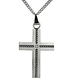 Steel Impressions Stainless Steel Twisted Rope Cross Pendant