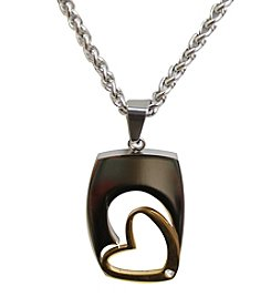 Uptown Steel Stainless Steel Two-Tone Open Heart Pendant