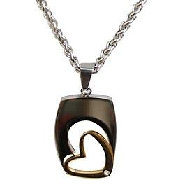 Uptown Steel Stainless Steel Two-Tone Open Heart Pendant