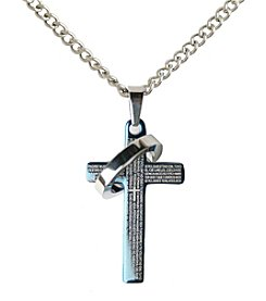 Steel Impressions Stainless Steel Verse Cross Pendant