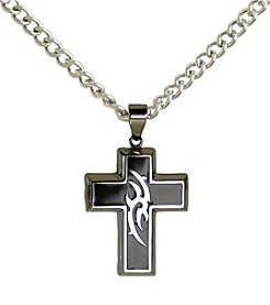 Steel Impressions Stainless Steel Black Tribal Cross Pendant