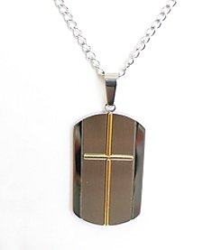 Steel Impressions Two-Tone Stainless Steel Cross Dog Tag Pendant