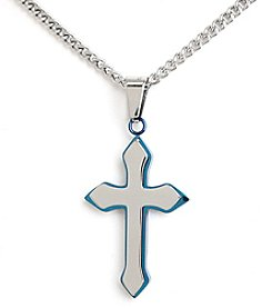 Steel Impressions Stainless Steel Blue Accent Cross Pendant