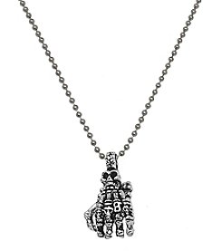 Steel Impressions Stainless Steel Skull Hand Pendant Necklace