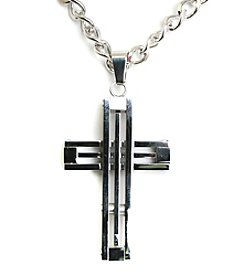 Steel Impressions Stainless Steel Frame Cross Pendant Necklace