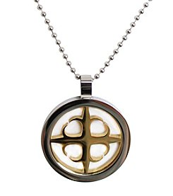 Steel Impressions Stainless Steel and Gold-Plated Gothic Cross Pendant Necklace