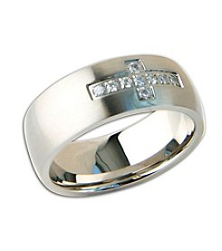 Steel Impressions Stainless Steel Clear Gem Cross Ring