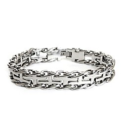 Steel Impressions Stainless Steel Linked Crosses Bracelet