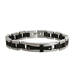 Steel Impressions Stainless Steel Black Cross Bracelet