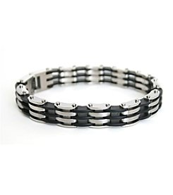 Steel Impressions Stainless Steel Black Rubber Bracelet