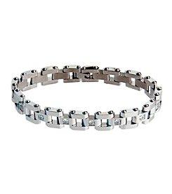 Steel Impressions Stainless Steel Gem Link Bracelet