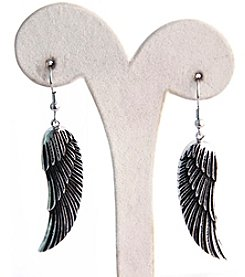 Uptown Steel Stainless Steel Angel Wings Earrings