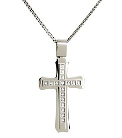 Uptown Steel Stainless Steel Cross Pendant Necklace