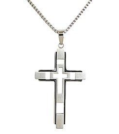 Steel Impressions Stainless Steel Cut Out Cross Pendant Necklace
