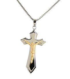 Steel Impressions Stainless Steel Two-Tone Crucifix Pendant Necklace