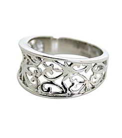 Uptown Steel Stainless Steel Filigree Heart Design Ring