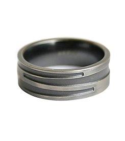 Steel Impressions Stainless Steel Gunmetal Ring