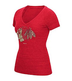 Reebok® NHL® Chicago Blackhawks Women's Oil Foiled Logo Tee