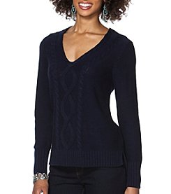Chaps® Cable-Knit V-Neck Sweater
