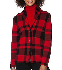 Chaps® Plaid Shawl Cardigan