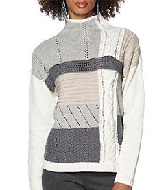 Chaps® Patchwork Mockneck Sweater
