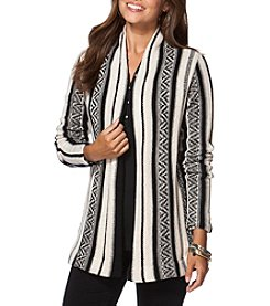 Chaps® Striped Open-Front Cardigan