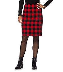Chaps® Buffalo Check Pencil Skirt