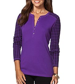 Chaps® Patterned-Sleeve Henley Shirt
