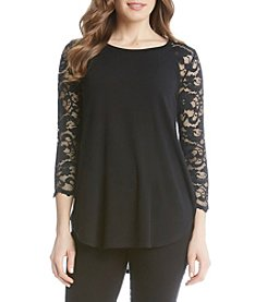 Karen Kane® Lace-Yoke Shirttail Top