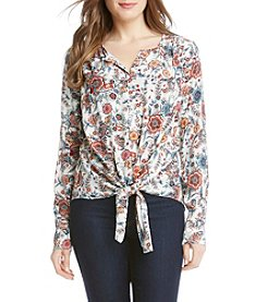 Karen Kane® Split Placket Tie Top