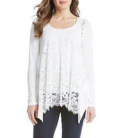 Karen Kane® Lace Front Handkerchief Top