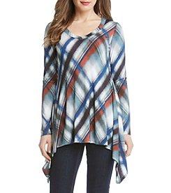 Karen Kane® Plaid Print V-Neck Handkerchief Top