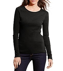 Lauren Ralph Lauren® Zip-Shoulder Cotton Top
