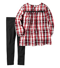 Carter's® Girls' 2T-4T 2-Piece Plaid Top and Leggings Set