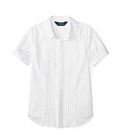 Polo Ralph Lauren Girls' 7-16 Short Sleeve Pleated Top