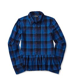 Polo Ralph Lauren® Girls' 7-16 Long Sleeve Plaid Peplum Top