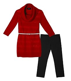 Amy Byer Girls' 7-16 2-Piece Belted Sweater and Leggings Set