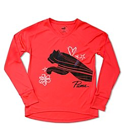 PUMA® Girls' 2T-6X Long Sleeve Sketched Big Cat Tee