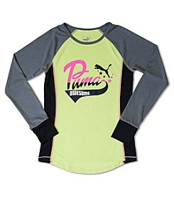 PUMA® Girls' 2T-6X Long Sleeve Awesome Raglan Tee